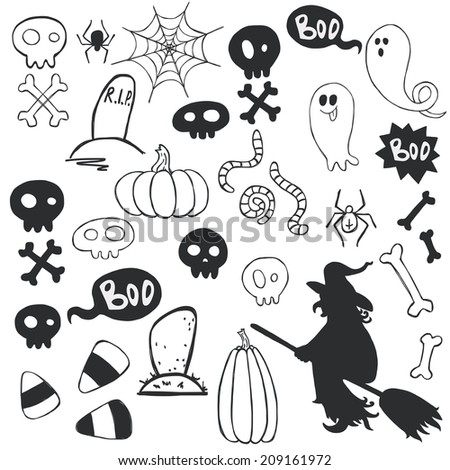 Set of hand drawn halloween doodles with cartoon ghosts, skulls, candy corns and other elements. - stock vector