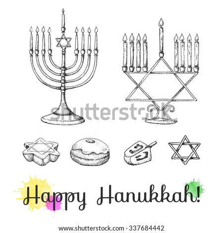 Set of hand drawn Hanukkah elements. Sketch. Israel festival of light. Vector illustration. Menorah, sweets, dreidel. - stock vector