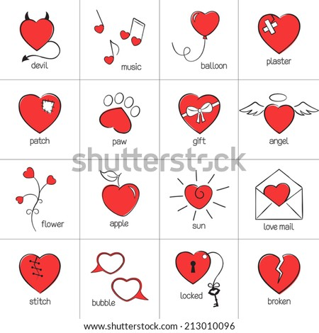 Set of hand drawn heart icons for romantic design - stock vector