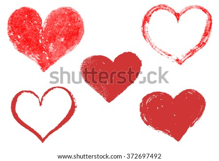 Set of hand drawn hearts. Happy Valentine's Day. I love You. Vector design element for greeting card, poster. - stock vector