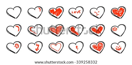 Set of hand drawn hearts isolated over white background - stock vector