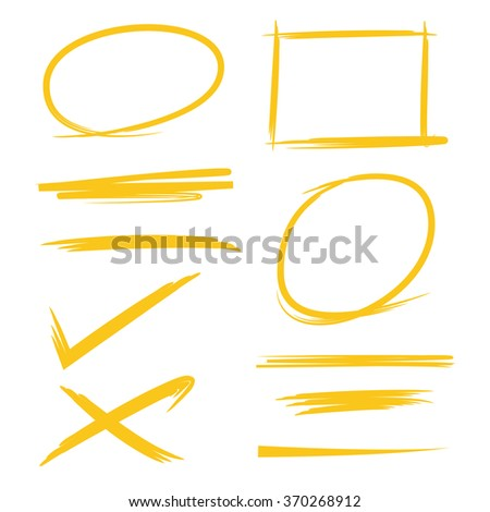 set of hand drawn highlighter elements, circle markers, underline - stock vector