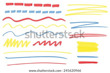 Set of hand drawn highlighter lines