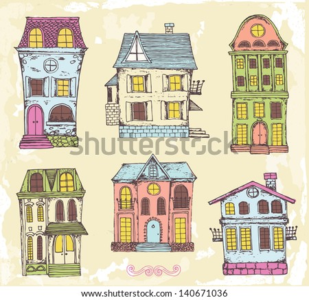 Set of hand drawn homes - stock vector