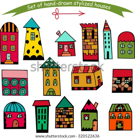 Set of hand drawn houses, doodled city, town doodles set. Private residential architecture. Vector Illustration
