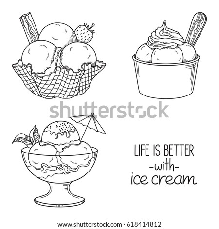 Set Of Hand Drawn Ice Cream Served In Glass Waffle And Paper Bowls