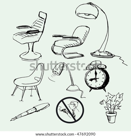 set of hand-drawn icon - stock vector