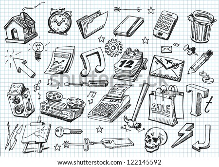 Set of hand drawn icons - stock vector
