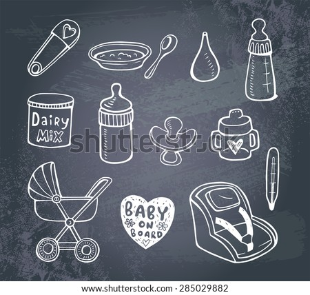 Set of hand-drawn icons baby  food and accessories on a blackboard.. - stock vector