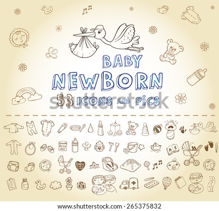 Set of hand-drawn icons baby toys, food, accessories. - stock vector