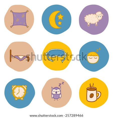 Set of hand drawn icons on sleep theme for your design - stock vector