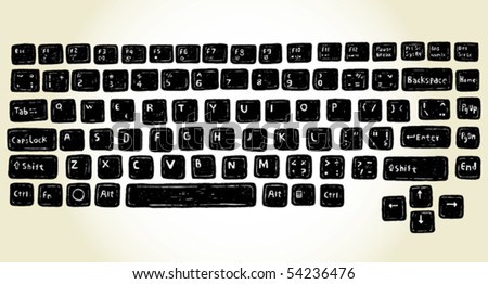 set of hand drawn keyboard buttons - stock vector