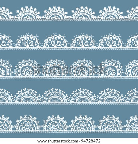 Set Of Hand-drawn Lace Borders - stock vector