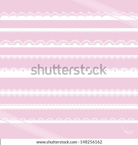 Set of hand-drawn Lace Paper Punch Borders and Ribbon
