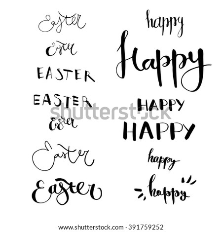 Set Of Hand Drawn Lettering With Happy Easter In Different Styles English