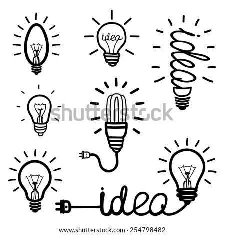 Set of hand drawn light bulb icons. Idea, solution, success. Fluorescent Lamp, electricity and energy. Vector illustration