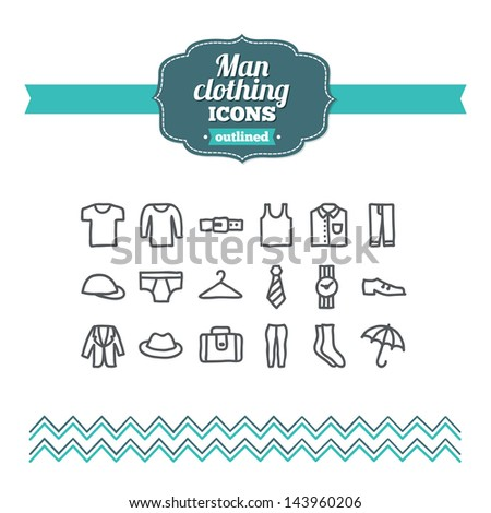 Set of hand drawn man clothing icons - stock vector