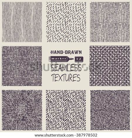 Set of hand drawn marker and ink seamless patterns. Simple vector scratchy textures with dots, strokes and doodles. - stock vector