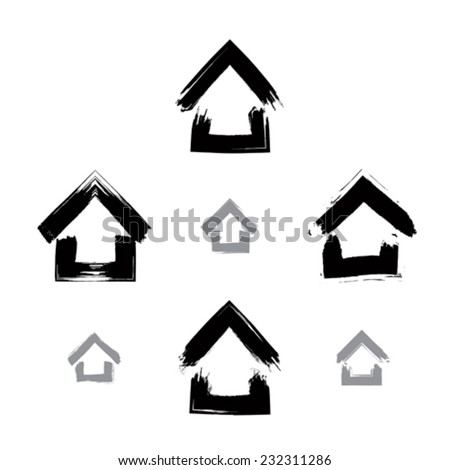Set of hand-drawn monochrome home icons, collection of black and white estate logotypes, simple cottage signs. Hand-painted house symbols created with real ink brush isolated on white background.