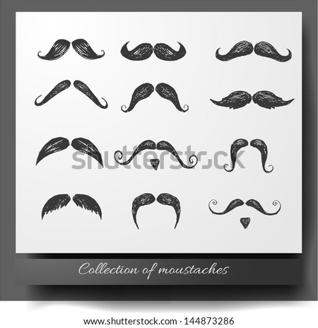 Set of hand-drawn moustaches isolated on white. Vector illustration. - stock vector