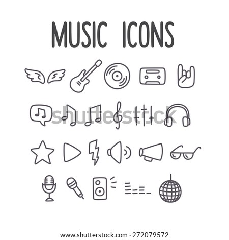 Set of hand drawn music themed line icons. - stock vector