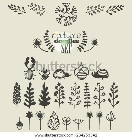 set of hand drawn nature doodles, design elements - stock vector