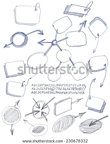 Set of hand drawn notes and alphabet. - stock vector
