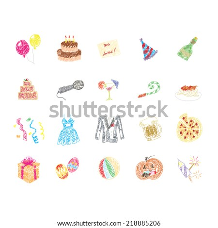Set of hand drawn Party icon - stock vector