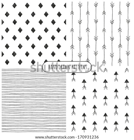 Set of hand drawn patterns. Vector - stock vector