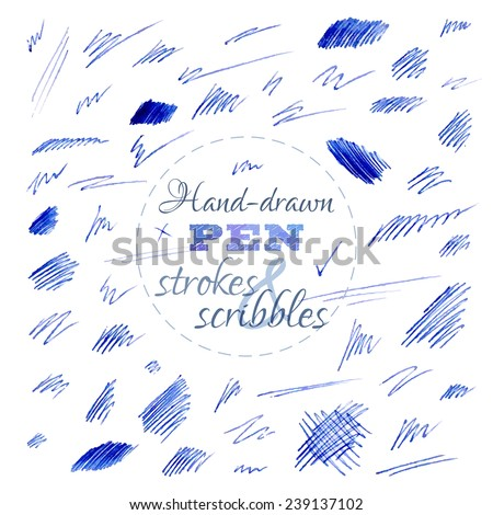 Set of hand-drawn pen strokes and scribbles. Various shapes isolated on white background. Vector illustration. - stock vector