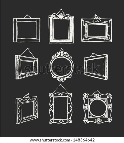 Set of hand drawn picture frames. Rectangular, square and round shape. Drawing line. Chalkboard style. - stock vector
