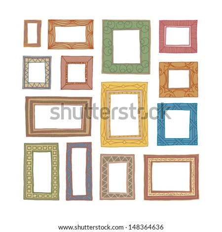 Set of hand drawn picture frames. Square and rectangular shape. Wooden colored. Isolated on white background - stock vector