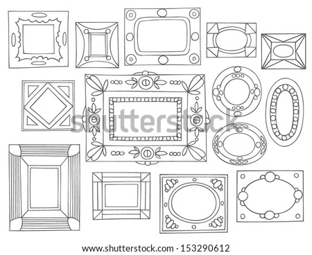 Set of hand drawn picture frames. Square, rectangular, round and oval shape. Black and white. Isolated on white background. - stock vector