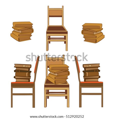 wooden chair side view. set of hand drawn pictures books in piles laying on chairs. side view and wooden chair