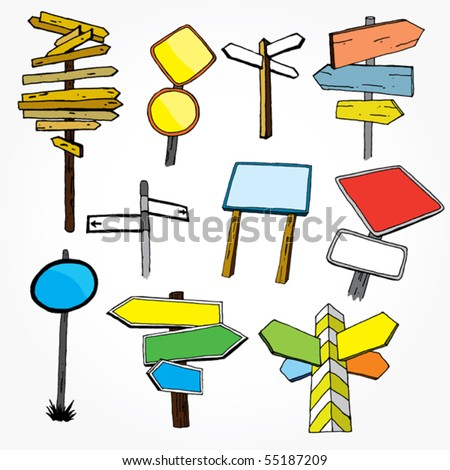 Set Of Hand Drawn Pointers - stock vector