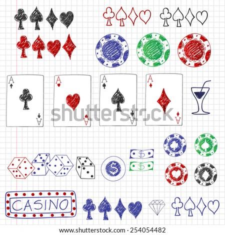 Set of hand drawn poker elements. Vector eps10. - stock vector