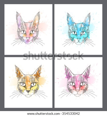 Set of Hand Drawn portrait of cat with watercolor blots. - stock vector
