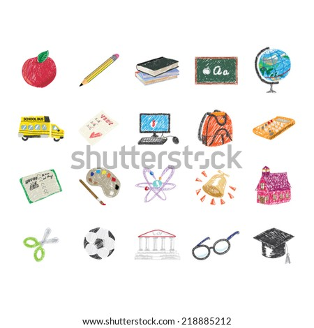 Set of hand drawn School icon - stock vector