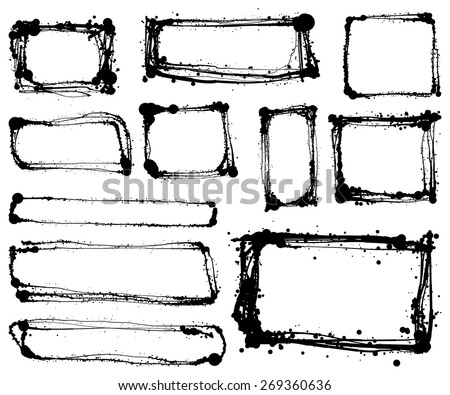 Set of hand drawn scribble shapes vector design elements  - stock vector
