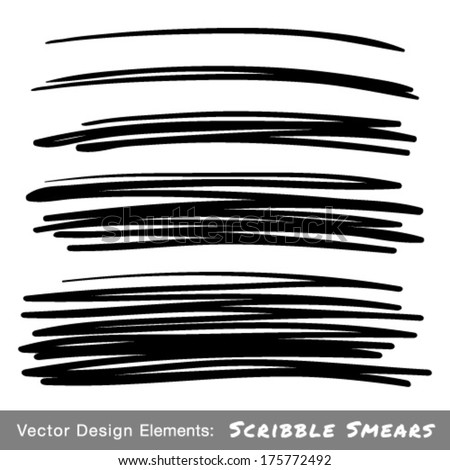 Set of Hand Drawn Scribble Smears, vector design elements  - stock vector