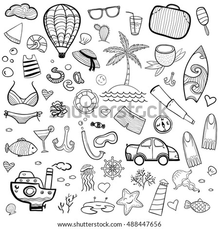 Set of hand drawn sea icons. Cartoon coloring page. Perfect clip art.
