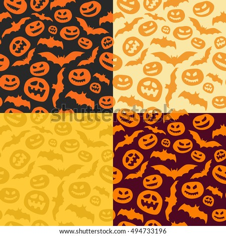 Set of 4 hand drawn seamless Halloween pattern. Vector background.