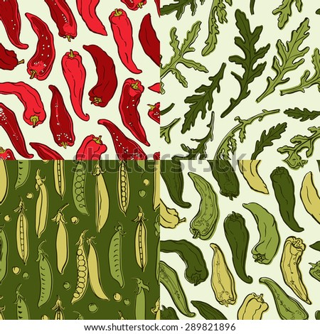 Set of hand-drawn seamless patterns with vegetables for surface design, suitable for textile and paper/ Vector illustration