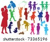 Set of hand drawn silhouettes of  children (kids) and mother and the baby, children play, dance, walk, give flowers, reflect. Vector illustration. - stock photo