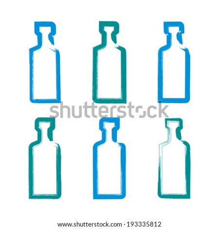 Set of hand-drawn simple empty bottles of tequila, collection of brush drawing bottle icons, hand-painted silhouette of whiskey bottles isolated on white background.