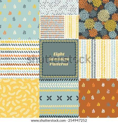 Set of hand drawn simple seamless patterns for textile design / Vector illustration - stock vector