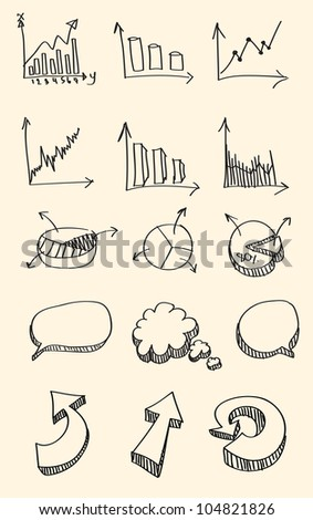 Set of hand drawn sketch of business graph,word bubble,arrow - stock vector