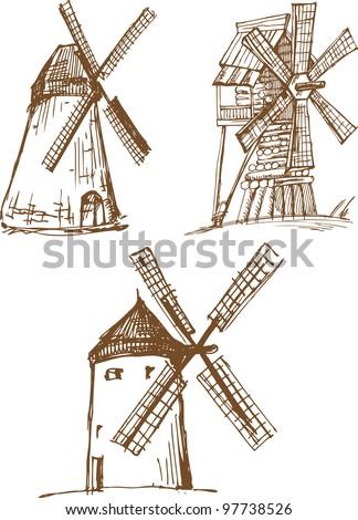 Set of hand drawn sketchers old mills - stock vector