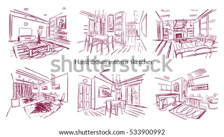 set of hand drawn sketches of modern interiors