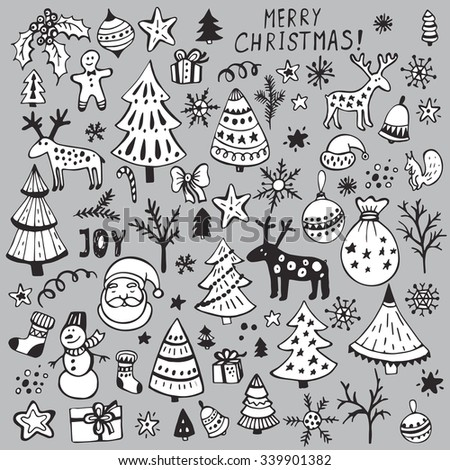 Set of hand drawn sketchy christmas elements. Doodle sketch vector illustration. Christmas tree, deer, Santa, snowflake - stock vector